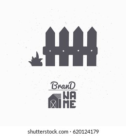 Hand drawn silhouette of wooden fence. Farm market logo template for craft food packaging or brand identity. Vector illustration