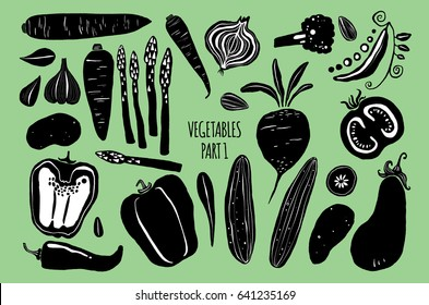 Hand drawn silhouettes of vegetables isolated on background. Elements for menu, packaging design in trendy modern naive style, detailed vector illustrations, stock clipart. Whole and cut.
