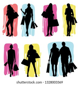 Hand Drawn Silhouettes of Women Shopping - vector eps10