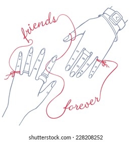 """Hand drawn simple card with two female hands connected by the red string of fate with words """"friends forever"""""""