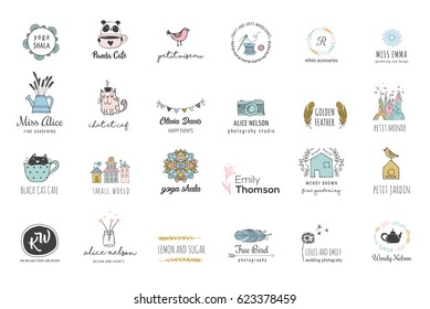 Hand drawn, simple and chic bohemian icon set