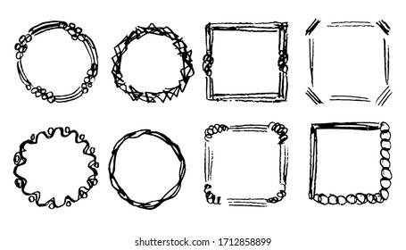 Hand drawn simple doodle vector set. Abstract strokes, scribbles, curls, square and round frames, charcoal pencil. Elements for creating patterns, labels, decor, decoration.