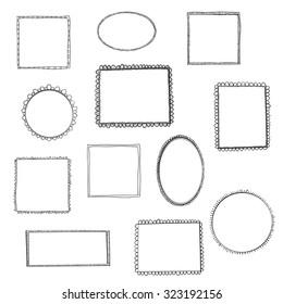 Hand drawn simple frames set. Cartoon style. Vector design.