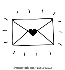 Hand drawn simple style vector illustration drawing of a cute love letter isolated on white background