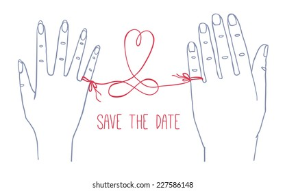 "Hand drawn simple Valentine's Day, Wedding greeting card or invitation, with male and female hands connected by the red string of fate with heart shape and infinity sign with text ""Save the Date"""