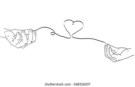 Hand drawn simple Valentine's Day, Wedding greeting card or invitation, with male and female hands connected by the red string of fate with heart shape.