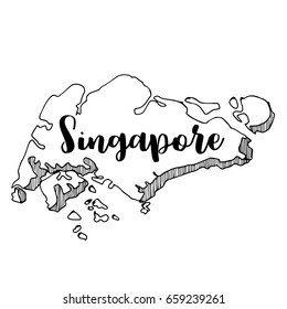 Hand drawn of  Singapore map, vector illustration