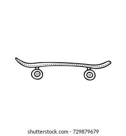 Hand drawn skateboard icon. Sketch vector illustration.