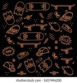 Hand drawn skateboarding elements seamless pattern. skateboard background. Skateboarding doodle illustration. Vector illustration. Seamless pattern with skateboard, hat, equipment etc.