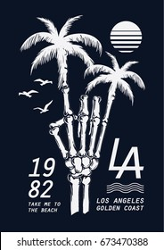 Hand drawn skeleton hand illustration with palm trees for t-shirt and other uses.