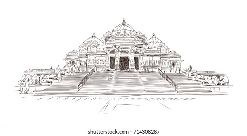 Hand drawn sketch of Akshardham Hindu temple in Delhi, India. Vector illustration.