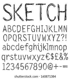Hand drawn sketch alphabet. Vector illustration.