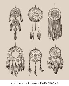Hand drawn sketch of Amulet of the Dream catcher on a white background. Dream catcher amulet. Spider. amulet for good dreams