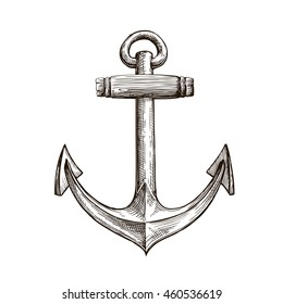 Hand drawn sketch anchor. Vector illustration