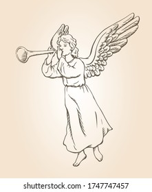 Hand drawn sketch of angel blowing trumpet. Vector illustration