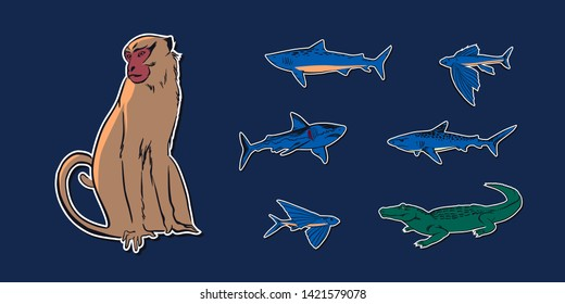 Hand drawn sketch animal set illustration with crocodile, monkey, flying fish and sharks. Vector drawing stickers isolated on navy background.