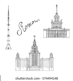 Hand drawn sketch architecture illustration of ENEA central pavilion, Moscow State University, Ostankino television tower Moscow Russia with lettering vector