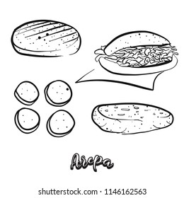 Hand drawn sketch of Arepa food. Vector drawing of Cornbread food, usually known in South America. Bread illustration series.