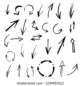 Hand drawn sketch arrows. Design elements set isolated on white background