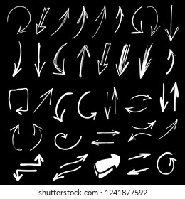 Hand drawn sketch arrows. Design elements set isolated on black background