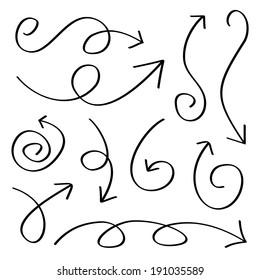 Hand drawn sketch arrows set