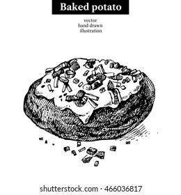 Hand drawn sketch backed potato. Vector isolated illustration. Menu restaurant design