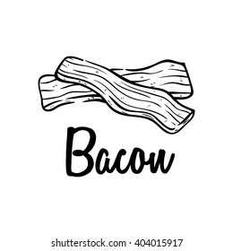 Hand Drawn or Sketch of Bacon Meat on White Background