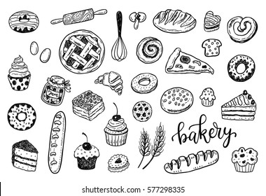 Hand drawn sketch bakery set. Food, cooking, sweets, pastry design