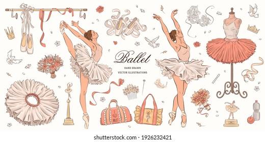 Hand drawn sketch ballet set. Vector illustration of ballerina, ballet shoes and dress