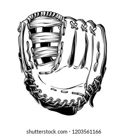 Hand drawn sketch of baseball glove in black isolated on white background. Detailed vintage style drawing, for posters, decoration and print.. Vector illustration