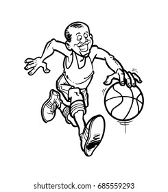 Hand drawn sketch of  basketball player playing game in vector illustration.