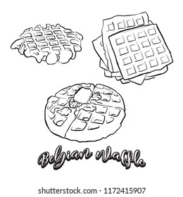 Hand drawn sketch of Belgian waffle bread. Vector drawing of Waffle food, usually known in Belgium. Bread illustration series.