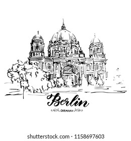 Hand drawn sketch of Berlin Cathedral, Berlin, Germany