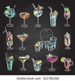 Hand drawn sketch big set of alcoholic cocktails. Vector illustration. Chalkboard background.