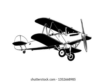 Hand drawn sketch of biplane aircraft in black color. Isolated on white background. Drawing for posters, decoration and print. Vector illustration