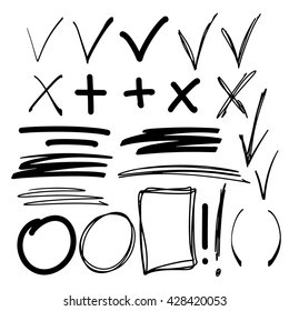 Hand drawn sketch black marker, brushed signs, arrows, lines, shapes, handwritten, marker design elements set isolated on white background