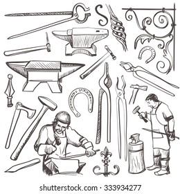 Hand drawn sketch blacksmith set, such as horseshoe, sledgehammer, vise, oven for your design