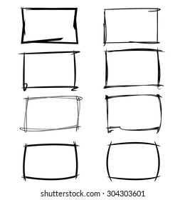 hand drawn, sketch border, rectangle frames