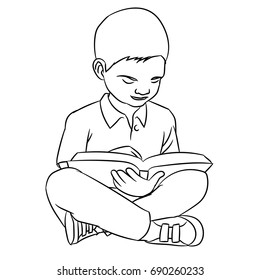 Hand drawn sketch of A boy make reading, Character Cartoon isolated, Black and White Cartoon Vector Illustration for Coloring Book - Line Drawn Vector