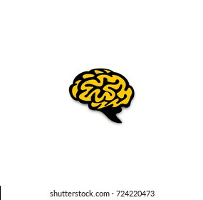 Hand drawn sketch of brain icon, yellow, white background, intelligence quotient, enlightenment, idea, vector illustration