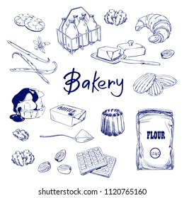 Hand drawn sketch with bread, pastry, sweet. Bakery set vector illustration. Background template for design. Engraved food image