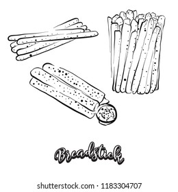 Hand drawn sketch of Breadstick bread. Vector drawing of Dry bread food, usually known in Italy. Bread illustration series.