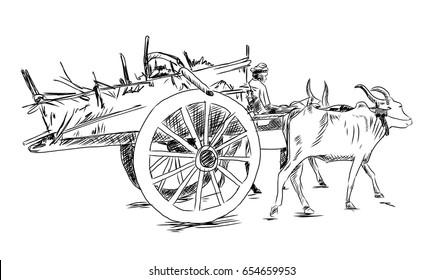 Hand drawn sketch of Bullock cart in vector sketch.