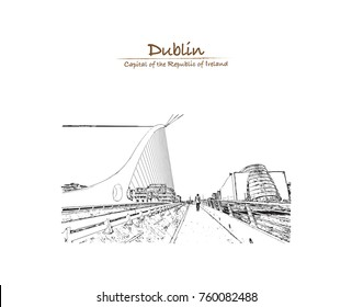 Hand drawn sketch of the cable stayed Samuel Beckett Bridge, in Dublin, Ireland in vector illustration.