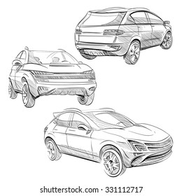 Hand drawn sketch car abstract vector design concept set