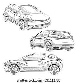 Hand drawn sketch car abstract vector design concept set