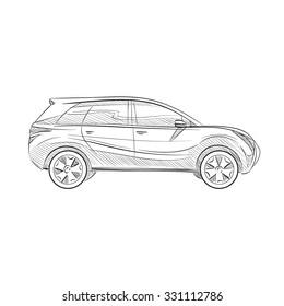 Hand drawn sketch car abstract vector design concept