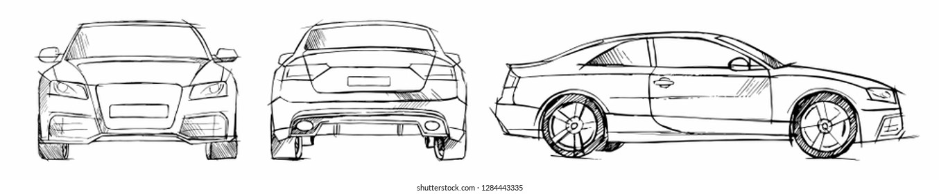Hand drawn sketch car vector set. Front, back and side view. Pencil design.