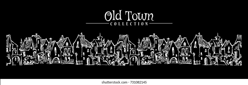 Hand drawn sketch of cartoon old town. Made in vintage style. Panoramic view.