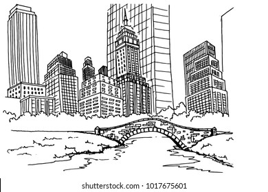 Hand drawn sketch of Central park in New York city.